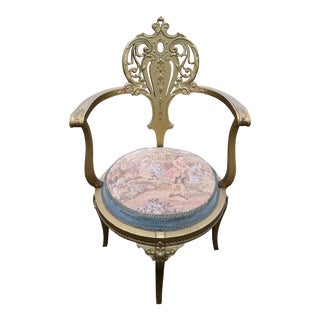 19th Century French Victorian Louis XVI Style Giltwood & Tapestry Parlor Fauteuil Chair For Sale