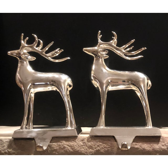 Vintage Solid Reindeer Stocking Hooks Silver Plated Pair For Sale - Image 10 of 10