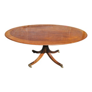 English Oval Inlaid/Banded Mahogany Tilt Top Table For Sale