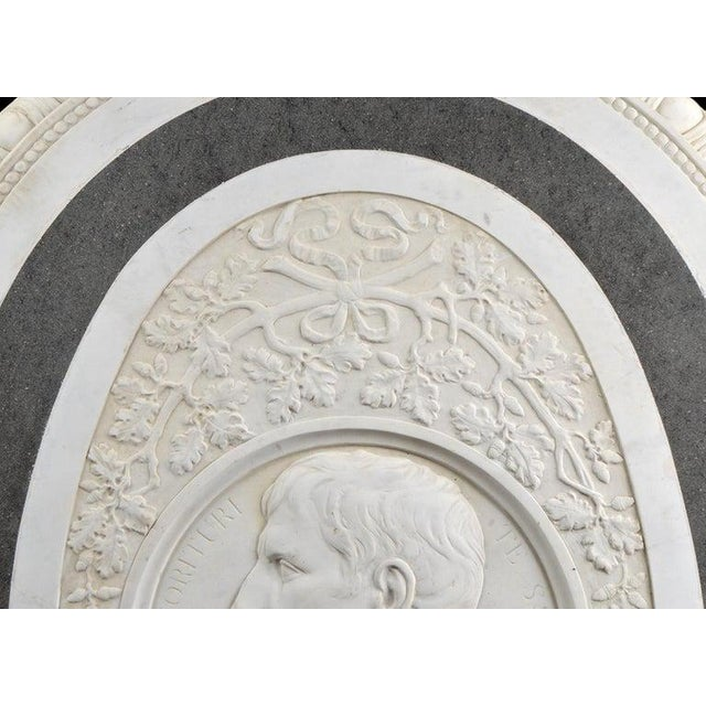 Mid 18th Century Large 19th Century Oval Marble Relief of the Roman Emperor Claudius With Eagle For Sale - Image 5 of 10