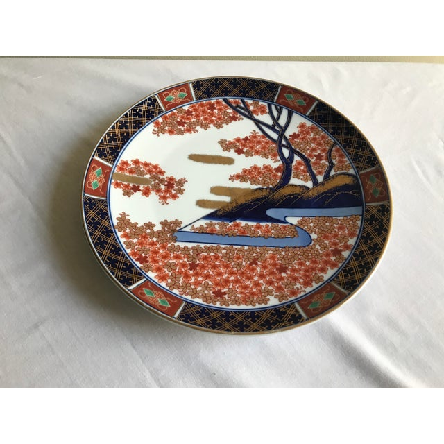 Vintage Mid Century Japanese Hand Painted Gold Imari Decorative Plate For Sale - Image 12 of 13