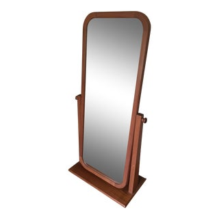 Mid Century Modern Teak Adjustable Floor Mirror For Sale