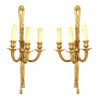 20th Century French Louis XVI Style Three-Light Sconces - a Pair For Sale
