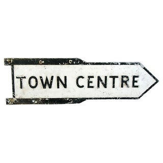 Large European Cast Metal Town Centre Center Sign