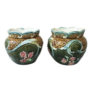 1890s Majolica Orchid Fives Lille Cache Pots - a Pair For Sale