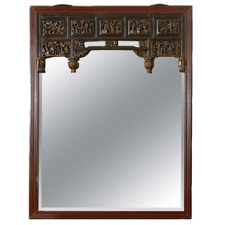 Mid 19th Century Carved Chinese Mirror For Sale