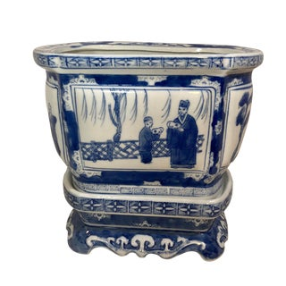 Blue and White Hand Painted Chinoiserie With Stand For Sale