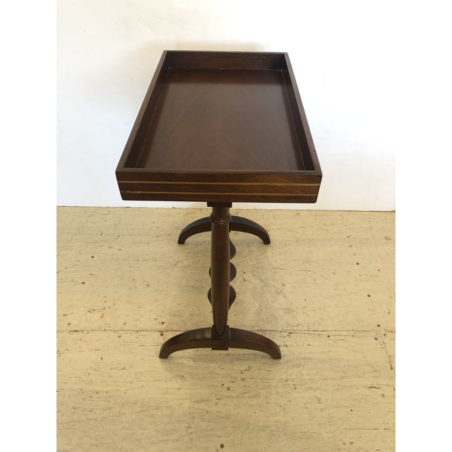 Brown Mahogany Rectangular Small End Table With Banded Inlay For Sale - Image 8 of 11