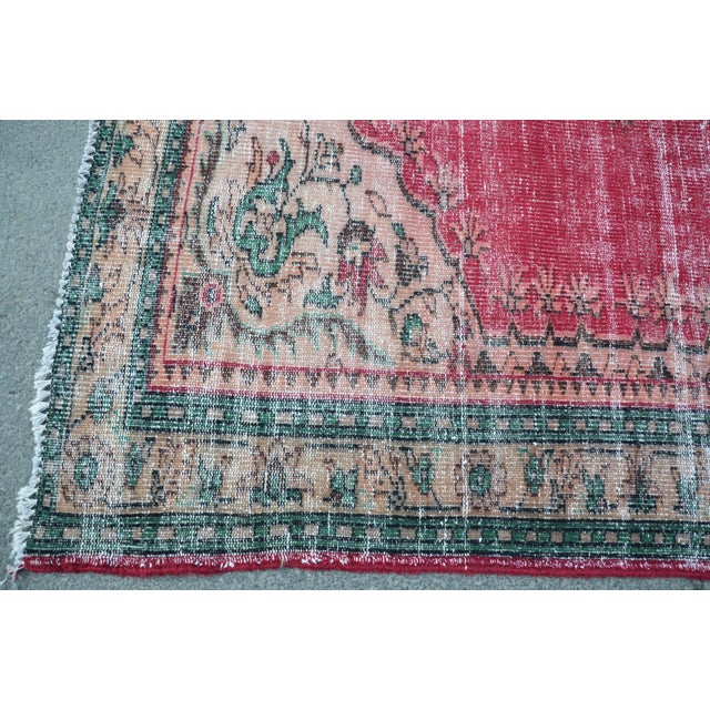 Modern Turkish Oushak Handwoven Tribal Red Wool Floral Rug For Sale In Austin - Image 6 of 7