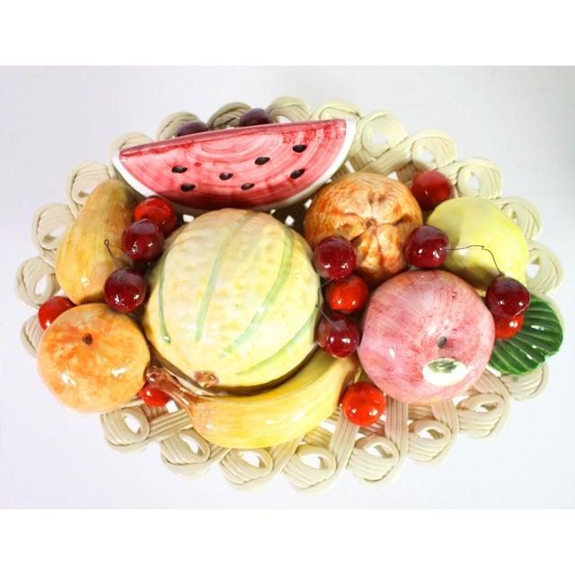 Italian 1940s Handmade Porcelain Italian Topiary Fruit on Lattice Pedestal For Sale - Image 3 of 8