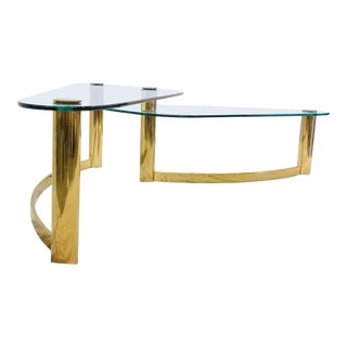 Vintage Mid Century Modern Brass & Glass Coffee Table For Sale