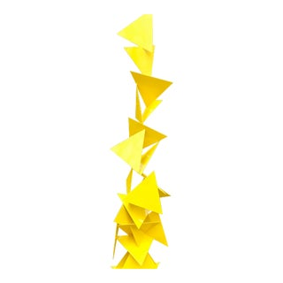 Trougao Abstract Yellow Garden Sculpture For Sale