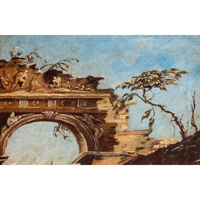 Late 18th Century Oil on Canvas of Ruins & Temple, Italian. For Sale - Image 4 of 9
