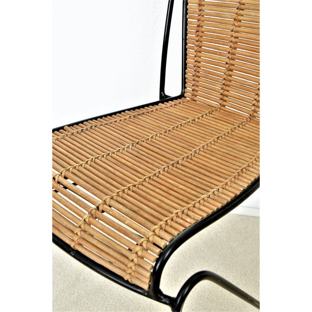 Bamboo Ficks & Reed Mid-Century Organic Modern Bamboo & Rod Iron Chair Pencil Reed Rattan Albini Weinberg Style -- Tropical Boho Chic Mid Century Modern MCM For Sale - Image 7 of 11