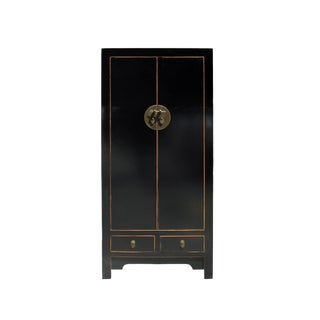 Chinese Distressed Black Lacquer Moon Face Storage Cabinet