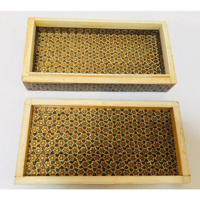 Green Micro Mosaic Indo Persian Inlaid Jewelry Trinket Box For Sale - Image 8 of 11