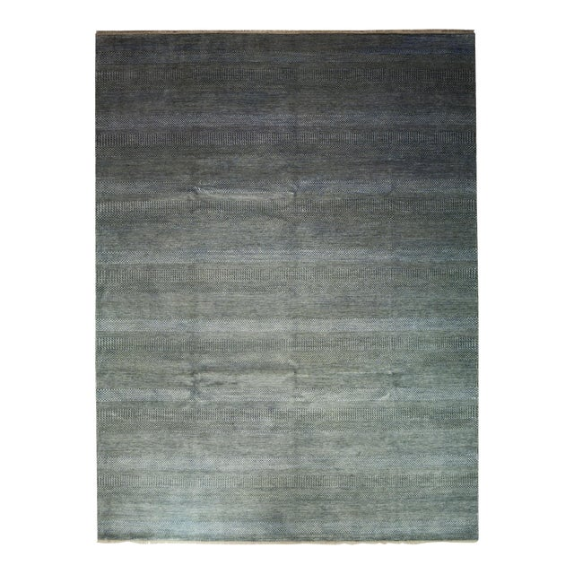 """Tonal Striped Hand Knotted Area Rug - 9'1"""" X 12'3"""" - Image 1 of 4"""