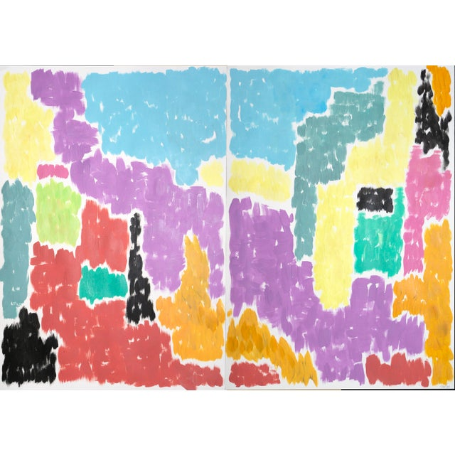 Leaving the City Diptych Abstract Shapes Cityscape Painting by Natalia Roman For Sale - Image 12 of 12
