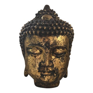 Chinese Gold Leaf Cast Iron Buddha Head For Sale