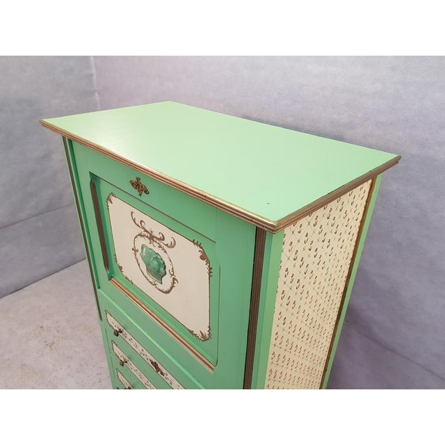 French Antique Early 1920s Handpainted Gilted Imperial Style Charming Secretaire Credenza For Sale In New York - Image 6 of 13