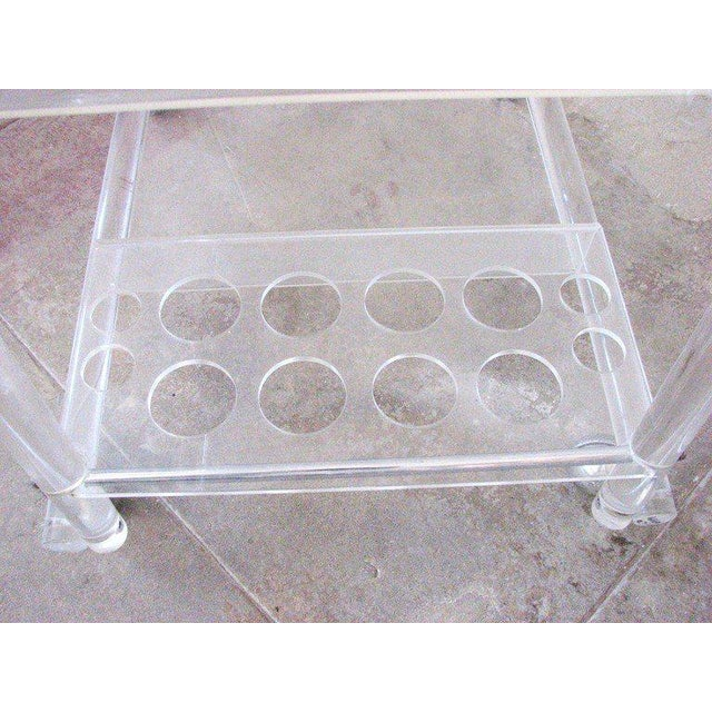 Mid-Century Lucite Bar Cart With Chrome Accents For Sale In Los Angeles - Image 6 of 7