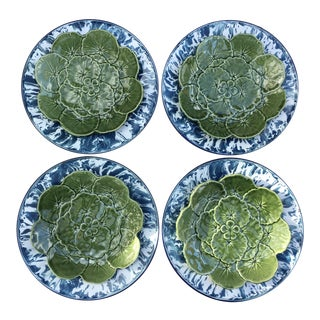 Blue & White Splatterware Chargers & Geranium Leaf Majolica Plates - Set of 9
