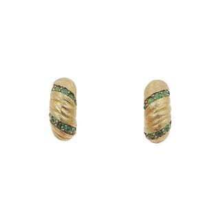 1960s Jomaz Cabochon Faux-Emerald Half Hoop Earrings For Sale