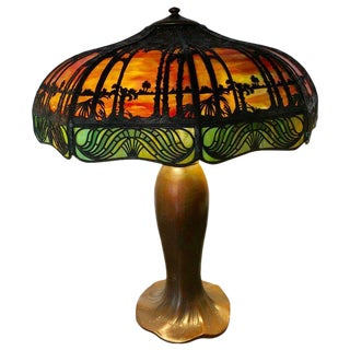 Arts & Crafts Handel Palm Tree Table Lamp Signed on Base and Shade For Sale
