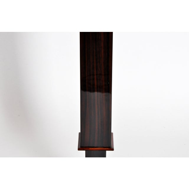 Contemporary Step Base Walnut Veneer Floor Lamps - a Pair For Sale - Image 9 of 11