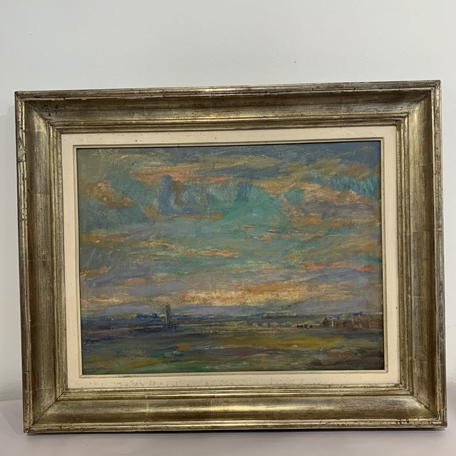 French Country Vintage Landscape Farm Scene Painting For Sale - Image 3 of 11
