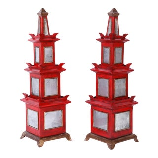 Red Painted and Mirrored Pagodas - A Pair For Sale