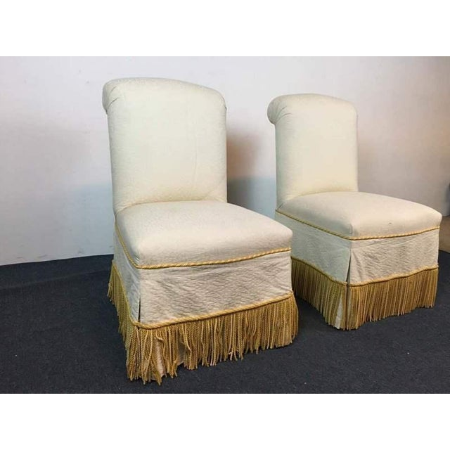 Contemporary White & Slipcovered Side Chairs - A Pair - Image 3 of 7