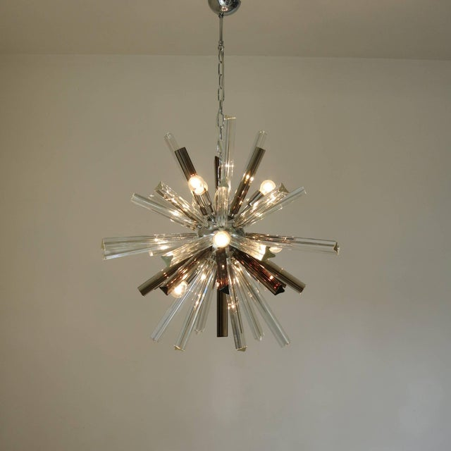 Vintage Italian chandelier with clear and smoky Murano glass hand blown into three pointed crystals using Triedri...