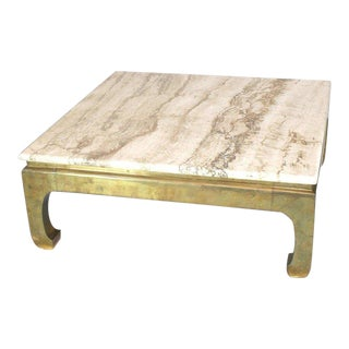 1970s Modern Solid Brass Base Square Travertine Top Coffee Table For Sale