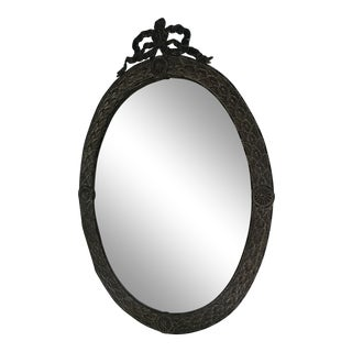 Antique Oval Metal Mirror For Sale
