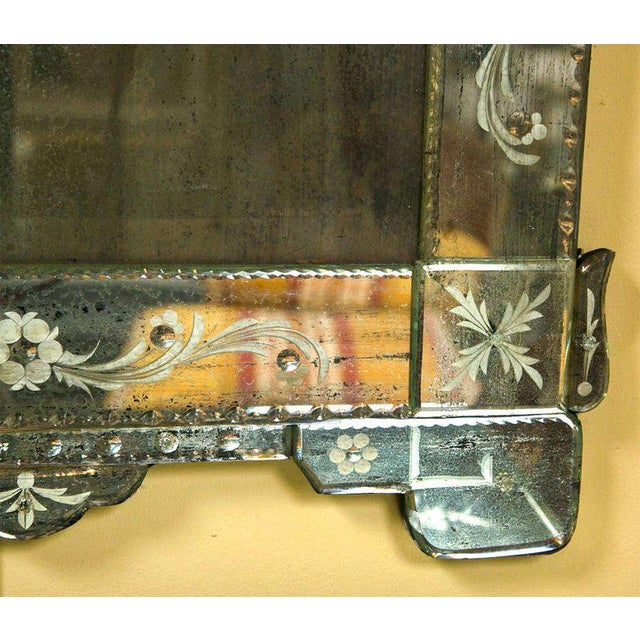 German Distressed Venetian Style Mirror Beautifully Cut Crest W/ Etching Detail For Sale In New York - Image 6 of 7