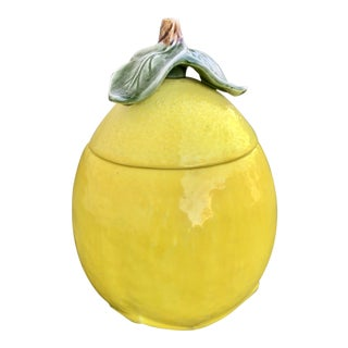 Vintage Lemon Lidded Container For Sale