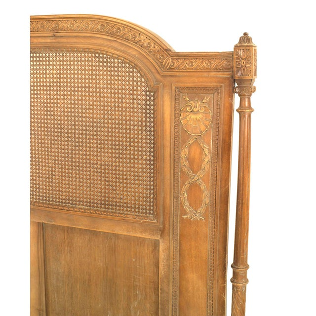 Louis XVI French Louis XVI Style Carved Walnut and Cane Bed For Sale - Image 3 of 7