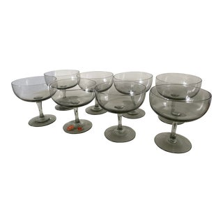 1950s Holmegaard Denmark Elsinore Smoke Glass Stemware - Set of 8 For Sale