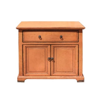 Oriental Distressed Peach Orange Color Side End Table Nightstand For Sale