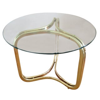 Brass and Glass Geometric Coffee Table For Sale
