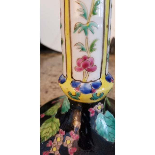 Early 20th Century Antique Japanese Ceramic Yellow Floral Nippon Table Lamp For Sale - Image 5 of 12