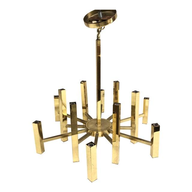 Mid-Century Gaetano Sciolari Polished Brass Twelve Arm Chandelier For Sale