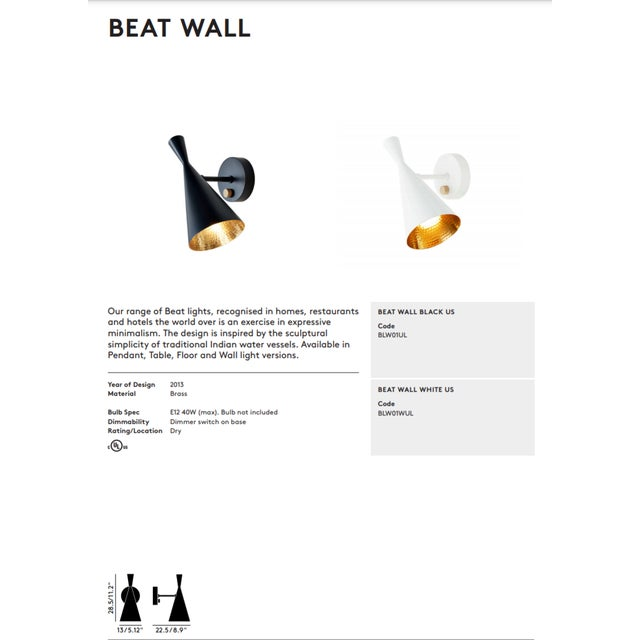 Metal Tom Dixon Beat Wall White Sconce For Sale - Image 7 of 9