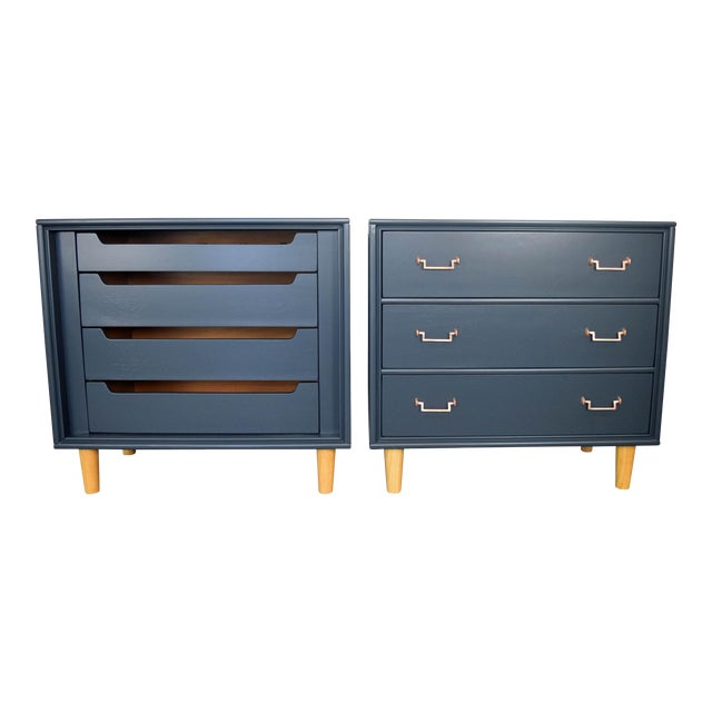 Mid Century Modern Mismatch Black Large Nightstands - a Pair For Sale