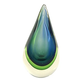 Mid-Century Seguso Sommerso Murano Glass Teardrop Sculpture