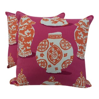 Dana Gibson Bright Pink & Carrot Designer Pillows- a Pair - With Down/Feather Inserts For Sale