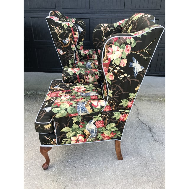 Absolutely love this previously upholstered chinoiserie wing back chairs in as found vintage condition. One chair was...