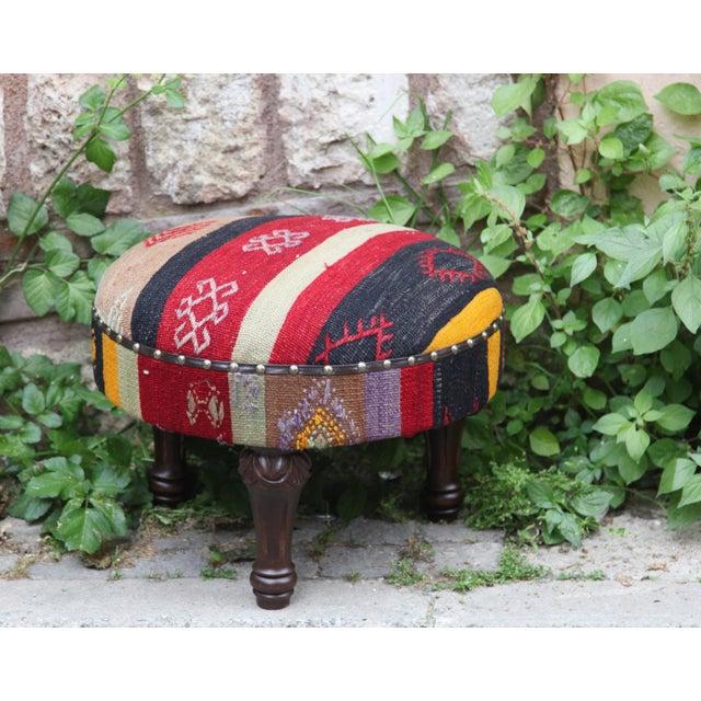 Brilliant Vintage Handmade Kilim Round Foot Stool Ottoman Machost Co Dining Chair Design Ideas Machostcouk