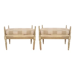 Poster Benches in Soft Plaid - A Pair